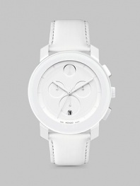 A sleek and modern timepiece designed with a minimalist style, all-white design and Swiss quartz precision. Round bezel Quartz movement Water resistant to 3 ATM Date function at 6 o'clock Second hand Stainless steel/composite case: 43.5mm (1.71) Leather strap Imported