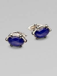 A dashing pair of sterling silver cufflinks with luxe semi-precious inlays.Lapis or quartzPolished and black rhodium-plated sterling silverAbout 1W X ½HImported