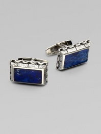 The perfect finishing touch for your smartest suit, a bold pair of semi-precious sterling silver cufflinks.Lapis or onyx inlaysSterling silverAbout 1W X ½HImported