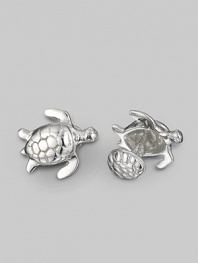 Refined reptiles, elgantly sculpted of sterling silver with a shell-design t-back. Turtle, length, about 1 Shell back diameter, about ¾ Made in USA