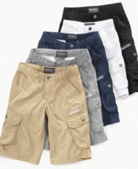 A place for everything. These cargo shorts from Akademiks have plenty of pockets so he has a place to put his stuff.