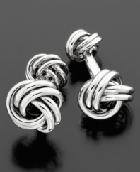 The classic touch to a tuxedo or sophisticated suit. Sterling silver love knots offer an elegant look to French cuffs.
