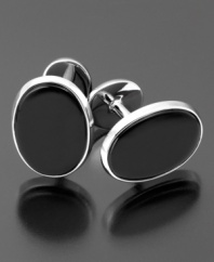 Pay attention to every detail. The handsome cufflinks feature onyx (9 x 7 mm) set in sterling silver.