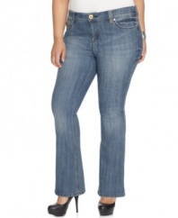 Defined by a slim fit, Baby Phat's flared plus size jeans are blazing hot must-haves for your weekend wardrobe!