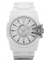 Edgy details give a futuristic vibe to this white-out watch by Diesel.