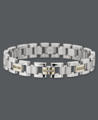 Sleek style for the sophisticated man. This modern link bracelet combines stainless steel, 14k gold, and round-cut diamonds (1/6 ct. t.w.) for ultimate polish. Approximate length: 8-1/2 inches. Approximate width: 3/8 inch.
