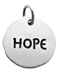 Inspire your style. Rembrandt's symbolically savvy round tag charm is crafted from sterling silver and features the engraved word HOPE. Approximate drop: 1 inch.
