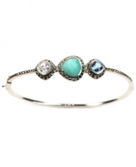 Star-studded style. This exquisite bangle by Judith Jack boasts a unique mix of clear cubic zirconia (1-5/8 ct. t.w.), glittering marcasite, genuine Peruvian amazonite, and synthetic blue spinel. Set in sterling silver. Approximate diameter: 2-1/2 inches.