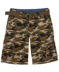 These rugged camo shorts are just what he needs to complete his outdoor look from Levi's.