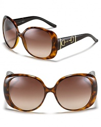 Gucci Rounded Rectangle Oversized Sunglasses with Gucci Bridle