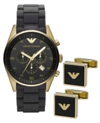 Don't settle for the basics. Go for the complete look with this handsome watch and cufflink set from Emporio Armani.