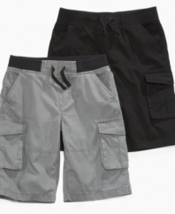 Fit for fun! Elastic at the sides of these cargo shorts from Epic Threads make sure that he's always comfortable and ready for long days of play.