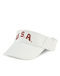 An adjustable cotton twill visor celebrates Team USA's participation in the 2012 Olympic Games with bold country embroidery at the front.