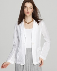 Boasting clean lines and classic tailoring, this Eileen Fisher linen jacket streamlines your summertime office looks.